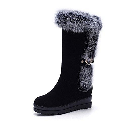 AgooLar Damen Blend-Materialien Reißverschluss Ziehen auf Mittler Absatz Stiefel, Schwarz, 38