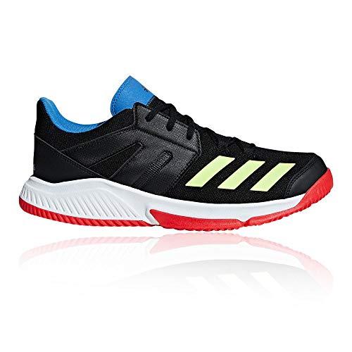 adidas Essence, Zapatillas de Balonmano para Hombre, Negro Core Black/Hi/Res Yellow/Active Red, 42 2/3 EU