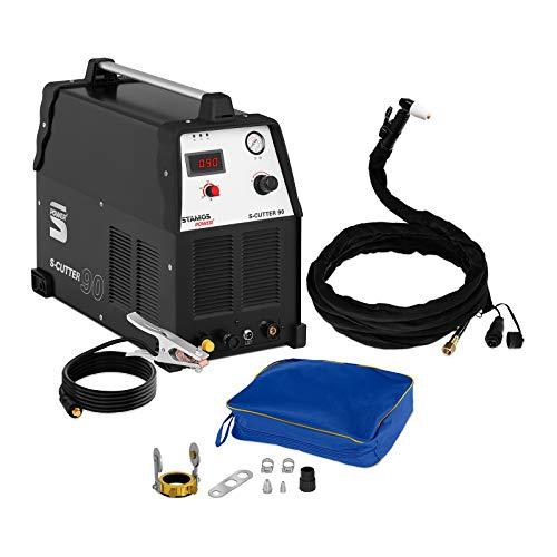 Stamos Power - S-CUTTER 90 - Plasmaschneider - Schneidstrom bis 90 Ampere - Schneidleistung von 25 mm - 60{687ea2755bb919a6112a2a5b2c529ebfa67a03a621a3830515e8229a3c77851c} Einschaltdauer - stufenlos einstellbarer Schneidstrom - HF Zündung