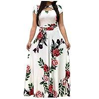 فستان نسائي طويل الأكمام مطبوع عليه أزهار بوهو من Ultramall Fashion -  XXL