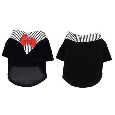 SODIAL(R) Pet Dog Pomeranian Clothes Groom Suit Wedding Dress Tuxedo Coat Shirts Necktie M