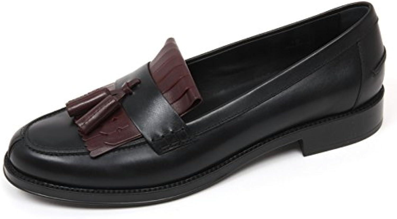 Tod's C9058 Mocassino Donna Scarpa nappine Nero/Bordeaux Loafer Shoe Woman