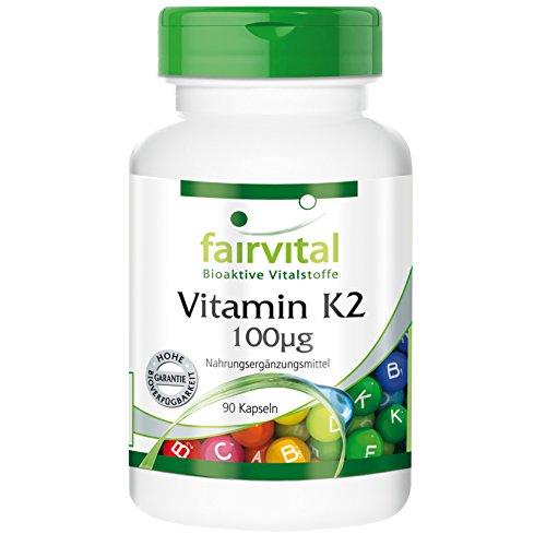 Vitamin K2 100µg, natürlich, +94% all-trans MK-7, Menachinon, vegan, ohne Magnesiumstearat, 90 Kapseln, 3-Monatspackung