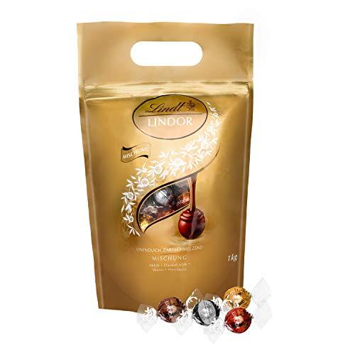 Lindt Lindor Schokoladenkugeln Auswahl, glutenfrei - ca. 80 Kugeln, 1 kg (inkl. Milch, Weiß, Dark und Haselnuss)