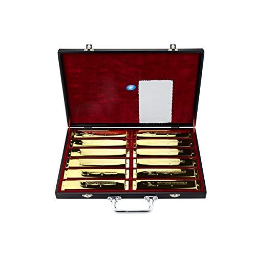 Xionghaizi 24-Loch-Tremolo-Mundharmonika, professionelles 7-Ton- und 12-Ton-Set, ABCDEFGA # C # D # F # G # Geschenkbox, Silber, Gold, Leistung, Wettbewerb Hochwertige Mundharmonika