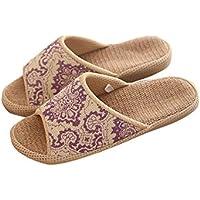 Slip Ons Unisex Borsa, umidità Lino Organico Lino aperto interni ed esterni antiscivolo pantofole suola in gomma Pantofole Stile Etnico Vintage pantofle, Purple, uk4.5-6