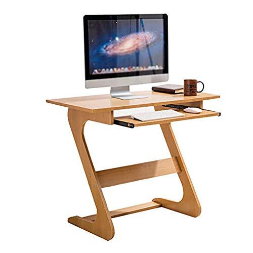 Dongy Hölzerner Laptop-Schreibtisch-Computer-Tabelle mit gleitender Tastatur für kleine Räume, Z-förmiger einfacher Standplatz, hölzerne Farbe, 90x48x75cm -