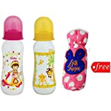 Gilli Shopee Bottle Cover Free With Mee Mee Premium Baby Feeding Bottle, 250ml Pack Of 2 (Yellow & Pink)