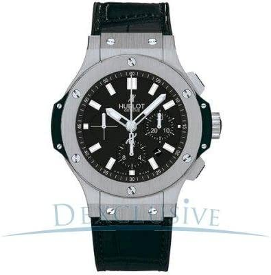 Hublot hombre 44mm acero negro banda de goma funda anti reflectante Sapphire reloj automático 301. SX. 1170. RX
