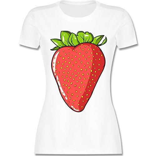 Statement Shirts - Erdbeere - M - Weiß - L191 - Damen Tshirt und Frauen T-Shirt -