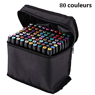 AllRight Set of 80 Colors Touch Alcohol Graphic Sketch Twin Marker Pen Broad Fine Point Black