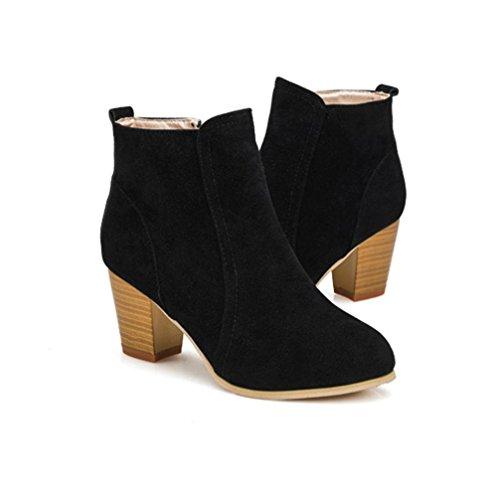 Tefamore Bottes d'hiver d'automne avec des talons hauts bottes martin bottes femmes cheville Noir