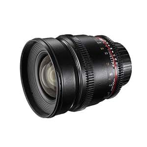 Walimex Pro 16mm 1:2,2 VDSLR Video- und Foto Weitwinkelobjektiv (Filtergewinde 77mm, Gegenlichtblende, Zahnkranz, stufenlose Blende und Fokus) für Nikon F Objektivbajonett schwarz