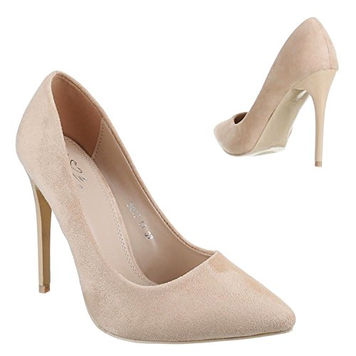 Klassische Damen Stilettos Lack Pumps High Heels Plateau Schuhe Spitz Bequem 50-2 Beige 13