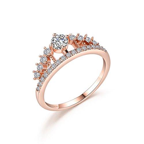 Rose Gold überzogen Zirkonia Prinzessin Tiara Krone CZ Band Ringe Tiara Verlobungs Ringe (Hochzeit Band Ring-sizer)
