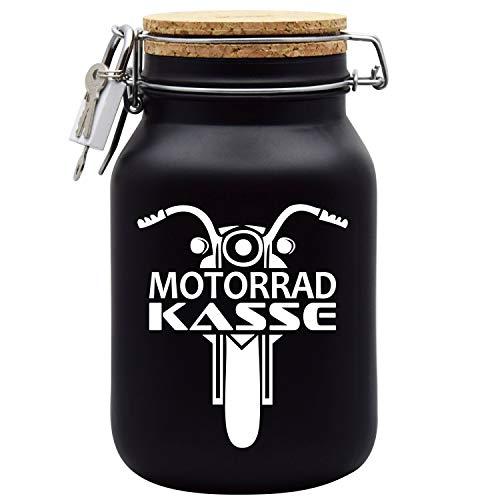 Spardose Motorrad Biker Kasse das Geschenk zum Führerschein in Schwarz XL