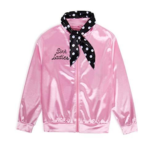 Motto Hen Party Kostüm - NUWIND 50er Jahre Pink Ladies Jacke aus Satin mit Polka Dots Schal Party Rock n Roll Mädchen Damen Halloween Kostüm (K6)