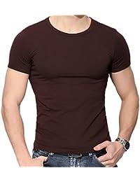 Z Hommes Occasionnels de Couleur Unie Manches Courtes Moulante Autour du  Cou T-Shirt Shirt… 78f89f18e357