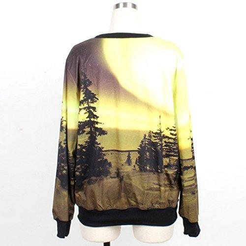 Thenice Pull à imprimé numérique pour femme Sweat-shirt Beige - Desert