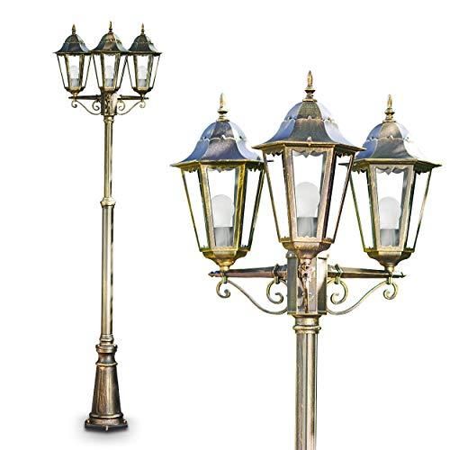 Kandelaber 3-flammig Hongkong Frost Aluguss in Bronze-Gold, Laterne Klarglas, 180, 240cm - Garten Laterne, Wegeleuchte im Vintage-Design, Alu Leuchte mit 3x E27-Fassung, höhenverstellbar
