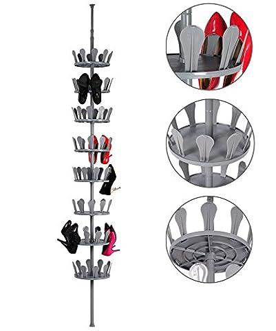 WOLTU SR0018gr-a Schuhkarussell Schuhregal Stiefelregal Teleskopregal , 8 Schicht für 40 Paare Schuhe , Schuhständer Schuhablage Schuhaufbewahrung Regal Drehbarer,