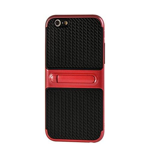 """MOONCASE iPhone 6/iPhone 6s Coque, Double Hybride Robuste Protection Housse Etui Couche d'Armure Lourde Case avec Béquille pour iPhone 6/iPhone 6s 4.7"""" Noir Rouge"""