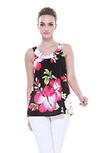 Mujeres-camiseta-con-capucha-floral-hawaiana-en-Negro-con-hibisco-gigante-rosa-y-hoja-verde