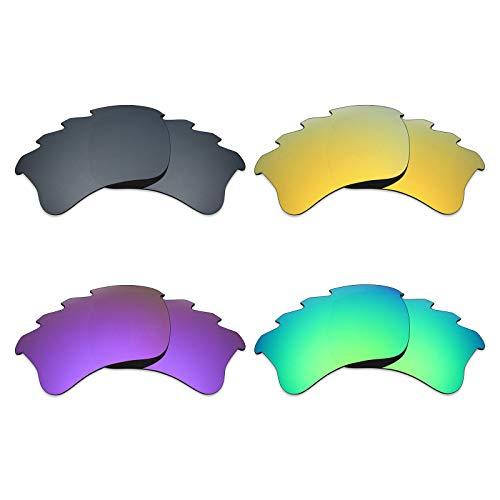 MRY 4Paar Polarisierte Ersatz-Gläser für Oakley Flak Jacket XLJ Belüftete sunglasses-black Iridium/24K Gold/Plasma violett/Smaragd Grün