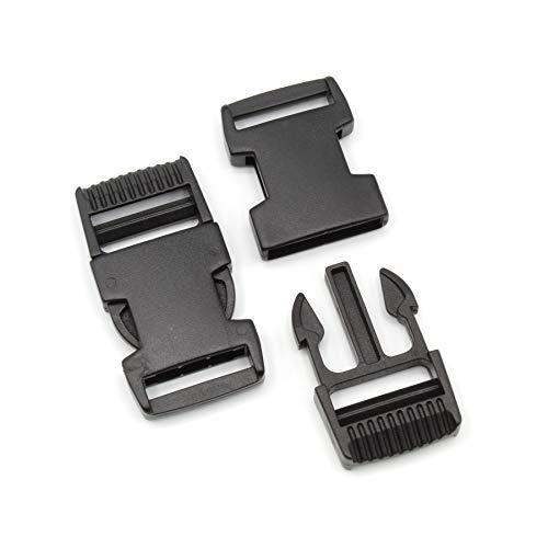 Steckschnalle 25mm Schwarz gerade POM Acetal [10 Stück] HEAVYTOOL® Steckverschluss Klippverschluss Klickverschluss