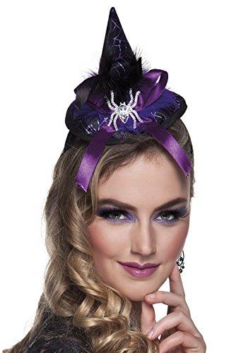 Halloweenia - Haarreifen mit Hexenhut und Spinne lila, (Glitzer Lila Kapuzen Cape)