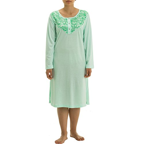 lucky-chemise-de-nuit-a-manches-longues-avec-motif-floral-bicolore-et-broderie-de-qualite-turquoise-