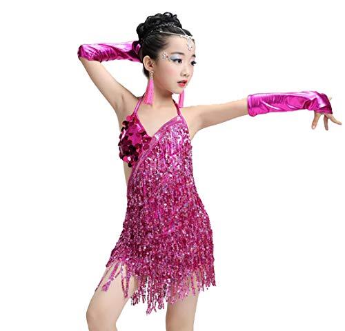 ZYLL Pailletten Fransenkleid Tanz Gold Latin Wettbewerb Kostüme für Mädchen Salsa Kleider mit Quasten Samba Kleidung Kinder Ballsaal,Pink,170CM