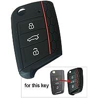 Carcasa de llave de Muchkey® para Golf 7GTI Mk7, Skoda Octavia A7, Seat Leon, Volkswagen Golf VII. Funda de silicona para las llaves del coche de 3botones, funda protectora, 1pieza, azul