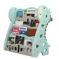 GAOQQI-Sling Bookshelf Childrens Bookcase Childrens Colourful Tiered Storage Floor-standing Plastic Environmental Protection, 2 Colors