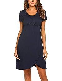 8e1df2bf0 Moda Color Sólido Vestidos Falda de Mujer Ropa premamá Lactancia Materna  Multifunciones Alimentación Conveniente Vestido de