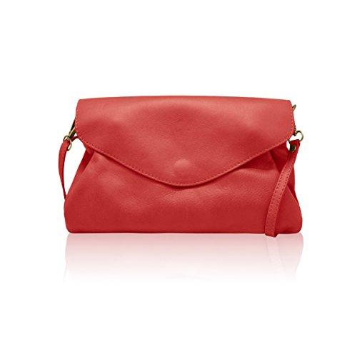 MELANY B klein Umhängetasche Unterarmtasche, Weichleder, Hergestellt in Italien rot