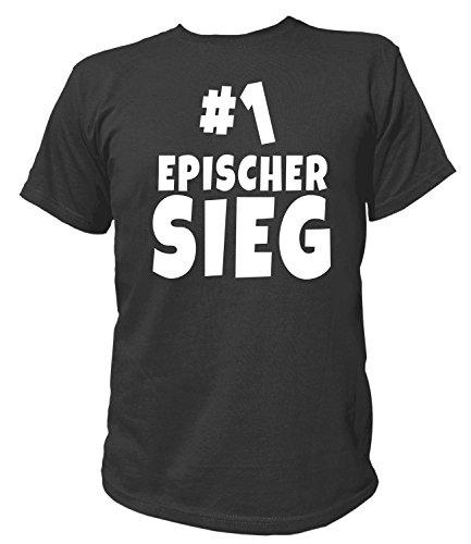 Artdiktat Herren T-Shirt - Epischer Sieg - Zocken Team - Funshirt Humor Fun Spaß Kult Funny Spruch Größe M, Schwarz