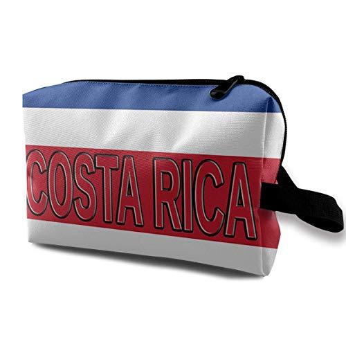 Costa Rica Flag Word Portable Make-up Receive Bag Hand Cosmetic Bag Makeup Bag Sewing Kit Medicine Bag cosmetic bag