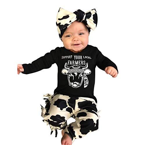 AmaSells Neugeborenes Baby Mädchen Langarm Kleidung Kuh Brief T Shirt + Pants + Stirnband Outfits Set Kinder Mädchen Kleidung (90, Schwarz)
