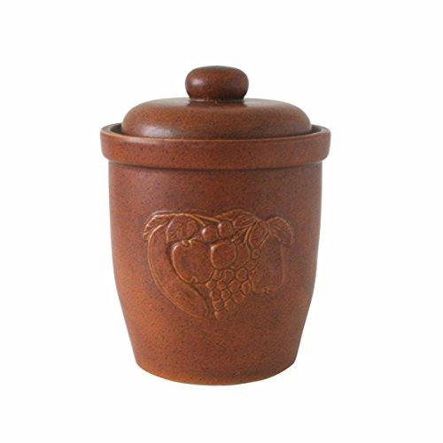 Rumtopf Tontopf 7 L Einlegtopf mit Deckel Ø 7 Liter - praktischer Mehrzwecktopf, Keramiktopf zum Gärren aus Keramik mit - Pflaumen Gurke