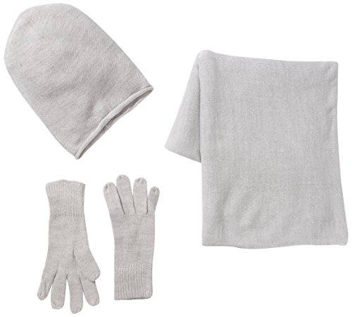 PIECES Damen Mütze, Schal & Handschuh-Set PS Kalia, Grau (Light Grey Melange) (CM), Herstellergröße: One Size
