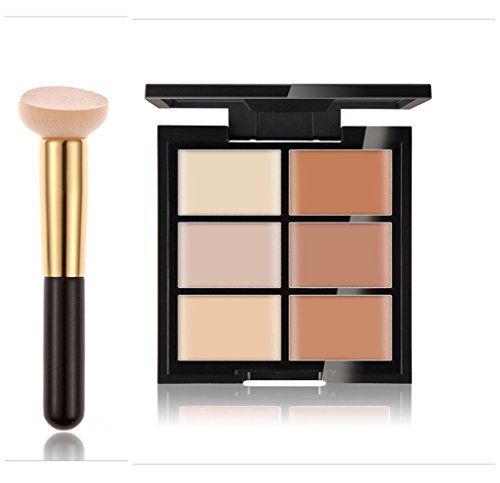 FantasyDay® 6 Farben Creme Contour Concealer Palette Highlighting Abdeckcreme Kontur Make-Up Corrector Foundation Camouflage Palette Für Jeden Hautton + Schwamm Beauty Blender, 1 Stück #2