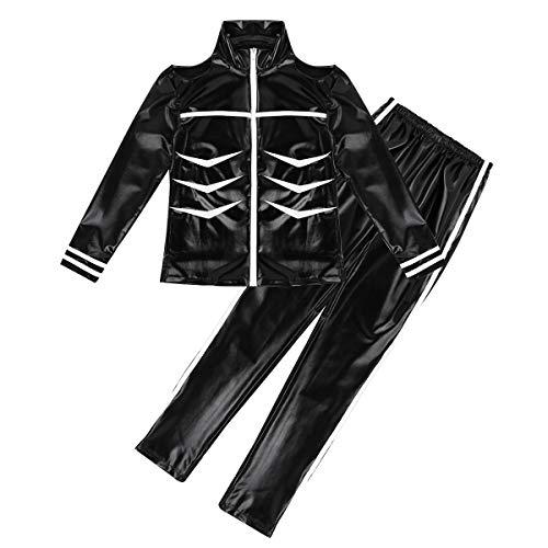 Agoky Herren Trainingsanzug Jacke & Hose Jogginganzug Biker Lederjacke Skelett Motiv Sporthose Leggings Tights Fitness Halloween Kostüm Schwarz Small