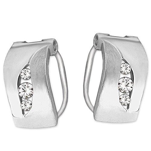 Clever Schmuck Silberne Damen Klappcreolen als Ohrclip Ø ca. 13 mm teils seidenmatt und glänzend mit je 3 Zirkonias untereinander STERLING SILBER 925