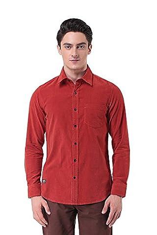 Pau1Hami1ton P-10 Men's Slim Fit Long Sleeve Casual Cotton Corduroy Shirts (L, Red)