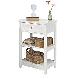 SoBuy® FBT46-W,ES Mesa auxiliar con 1 cajón, Consola,mesita de noche para salón comedor, teléfono o lampara