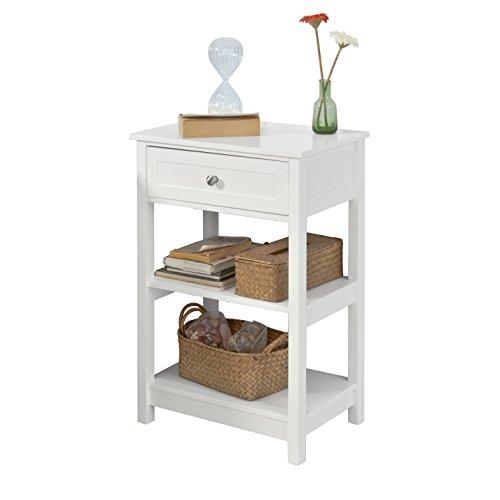 SoBuy FBT46-W Table de Chevet Bout de Canapé Table d'Appoint avec 1 tiroir et 2 étagères de Rangement - Blanc