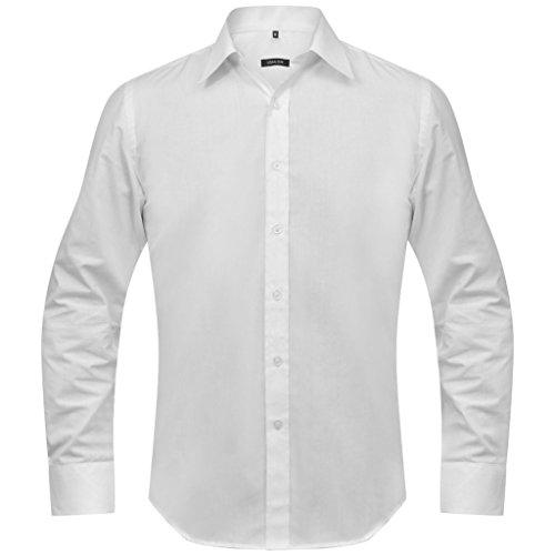 Festnight Men's Business Shirt Slim Fit Long Sleeve Plaid Turn Down Collar Suit Shirt Size S-XXL (White/Black/Blue)
