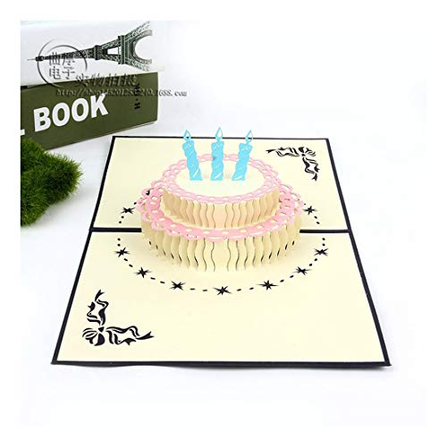 ZHOUBIN 2 fogli/set Carving and Hollowing Out 3D Cards/Greeting Cards/Regali di Natale Capodanno/Auguri di compleanno/Torte Gorgeous, blu