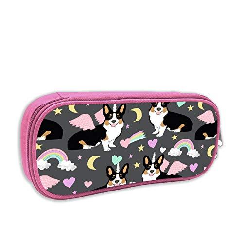 astuccio per bambini portatutto,Tessuto Corgi Unicorn, rosa